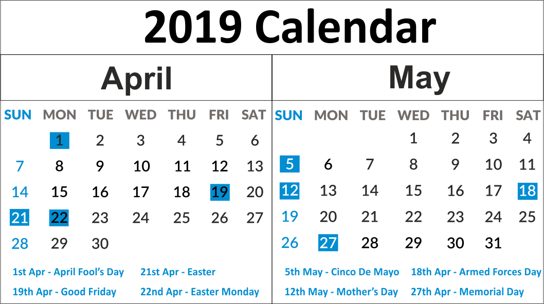 April May 2019 Printable Calendar