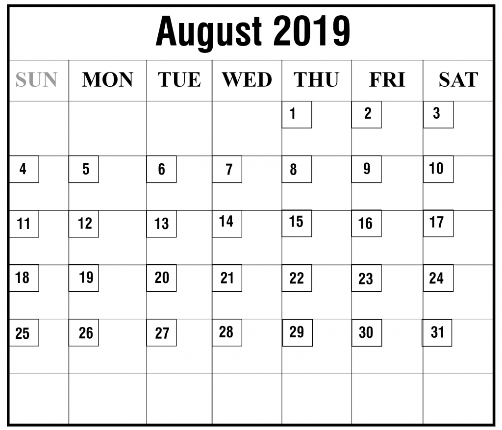 picture relating to Printable Calendar Aug called Totally free August 2019 Printable Calendar Template PDF, Excel