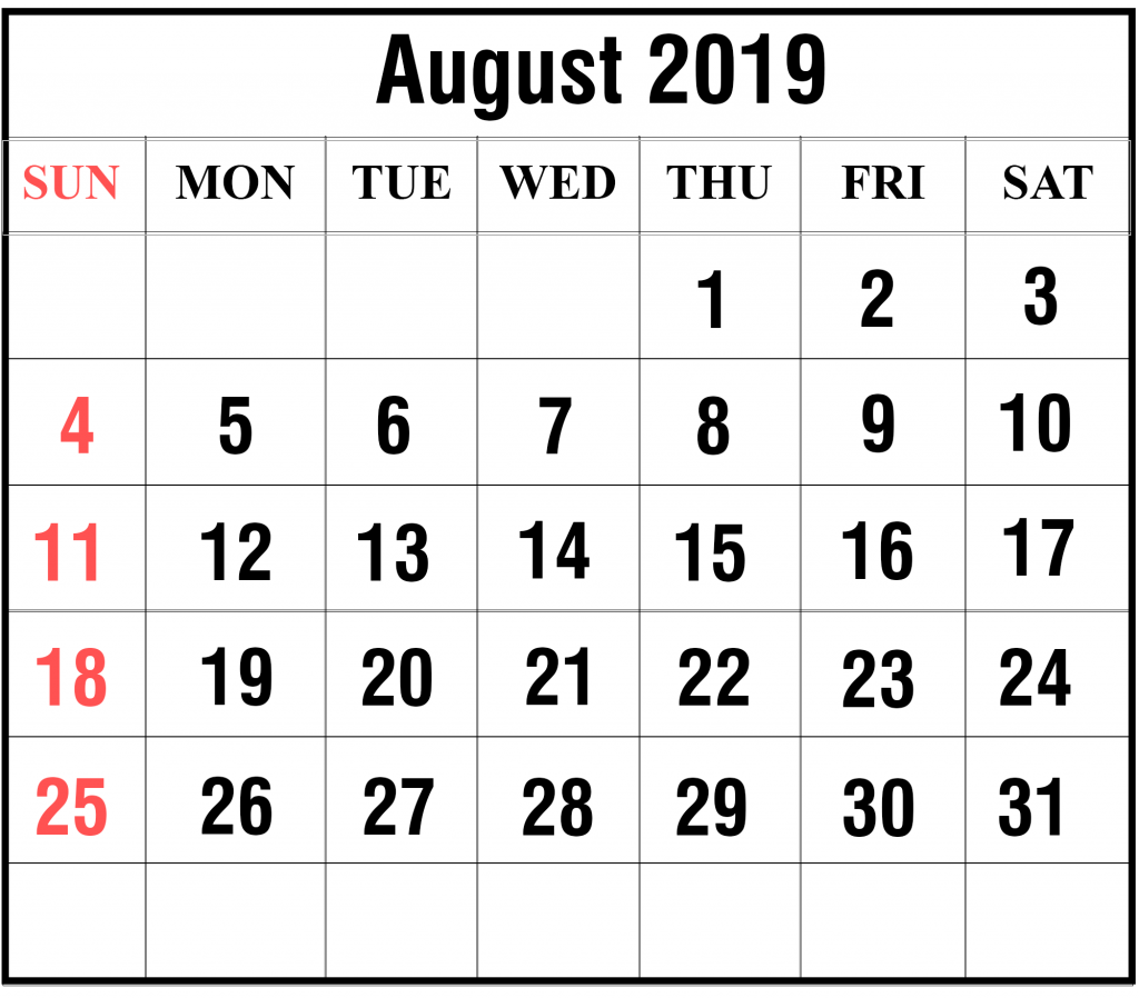 August 2019 Portrait Calendar Template