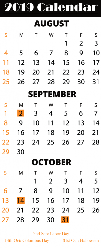 August September October 2019 Printable Calendar