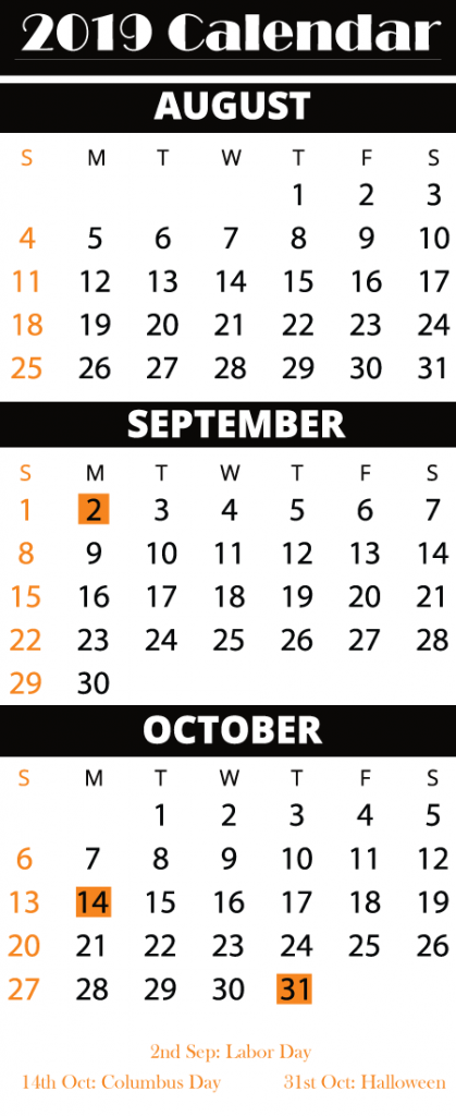 Free Printable August September October Calendar