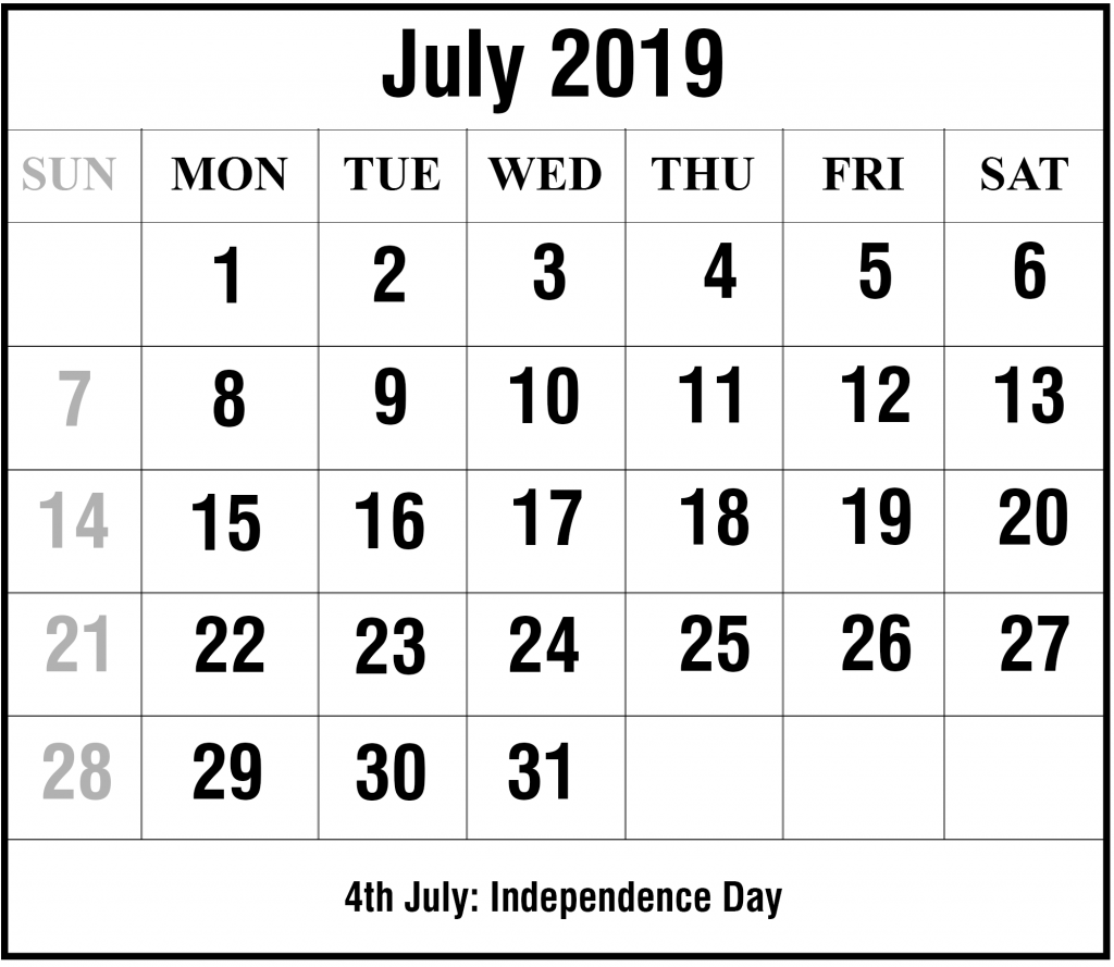 2019 July Excel Calendar Template