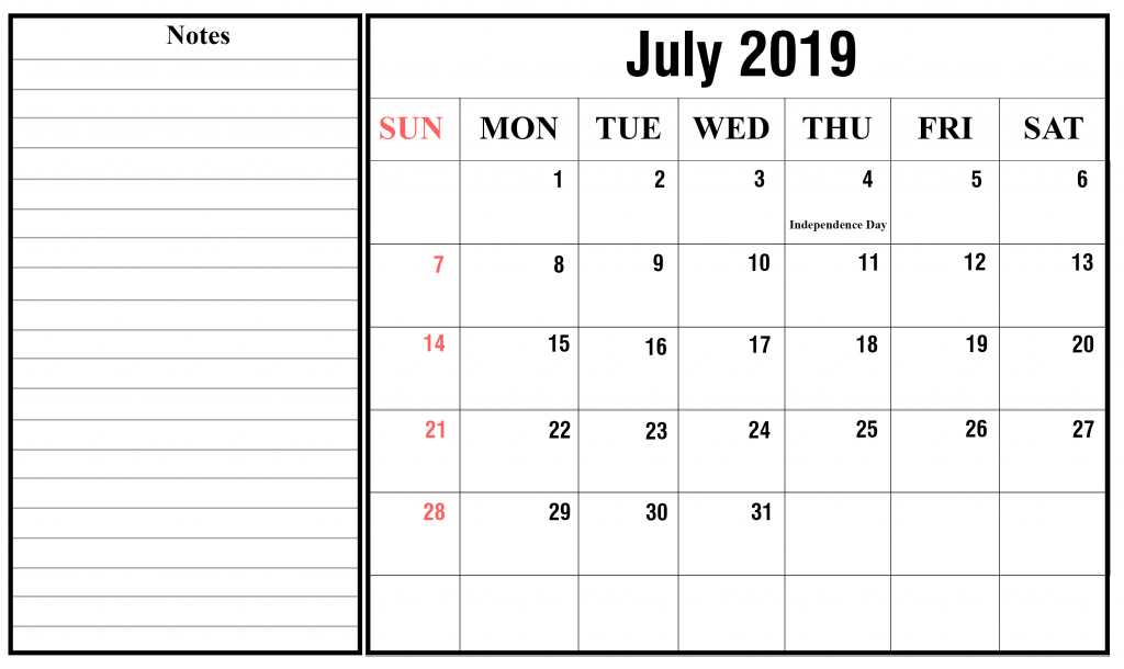 free july 2019 printable calendar template in pdf  excel