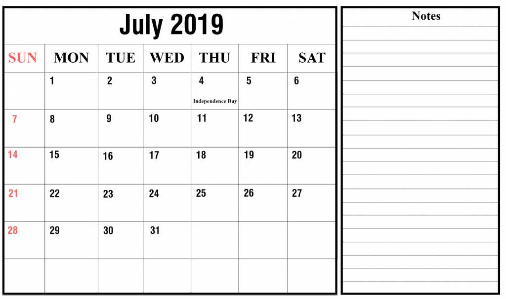 July 2019 Calendar Word Templates