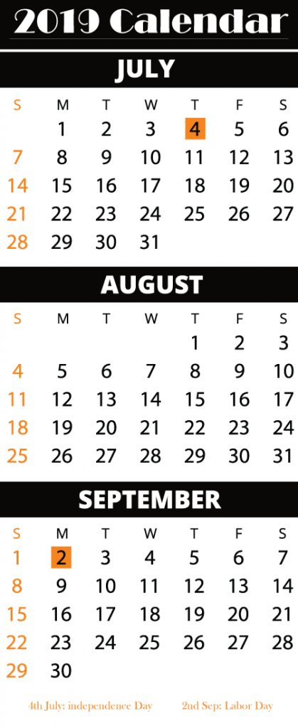 Free July August September 2019 Printable Calendar