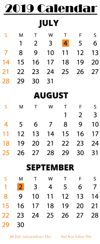 Free Printable July August September Calendar