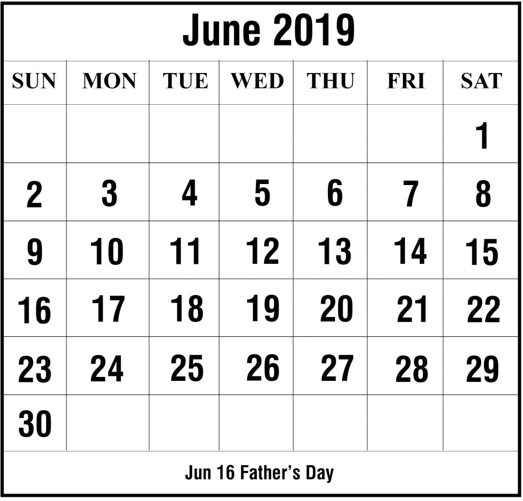 image regarding June Printable Calendar referred to as No cost June 2019 Blank Printable Calendar Template In just PDF