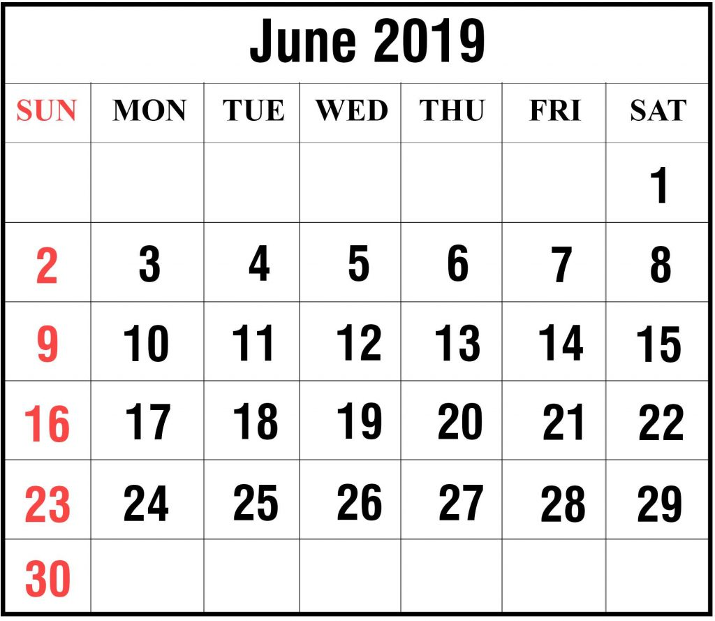 2019 June Excel Calendar Template