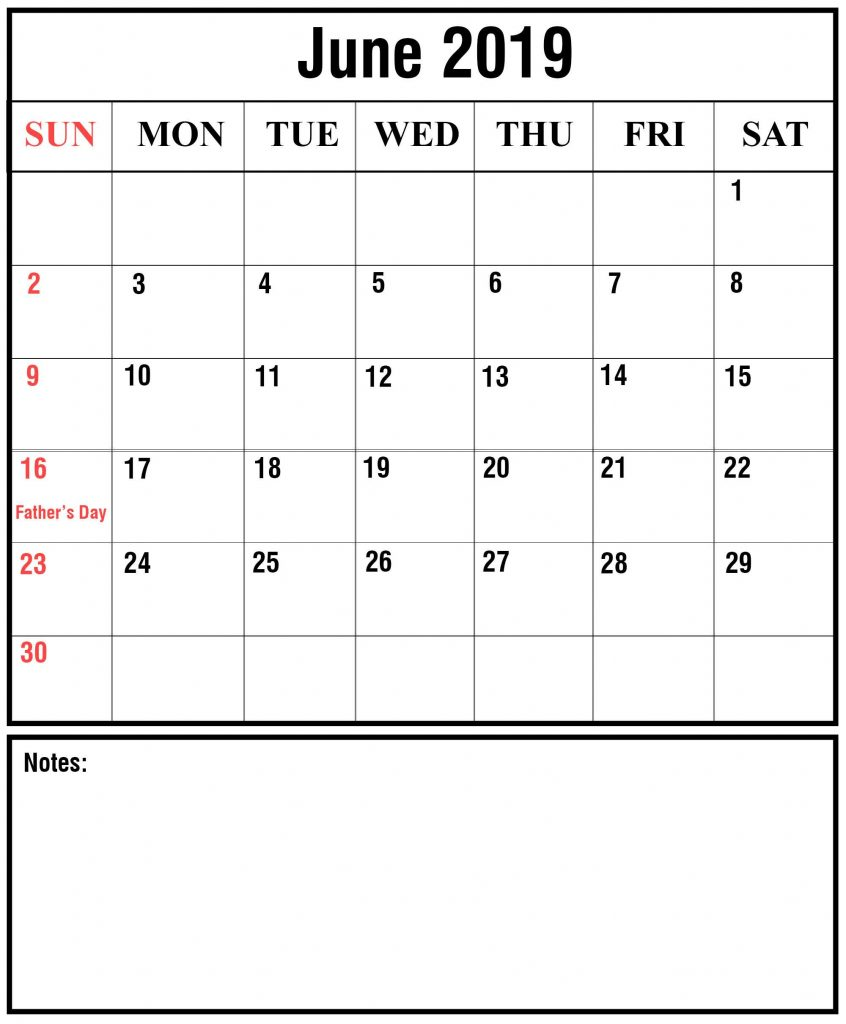June 2019 Calendar Word Templates