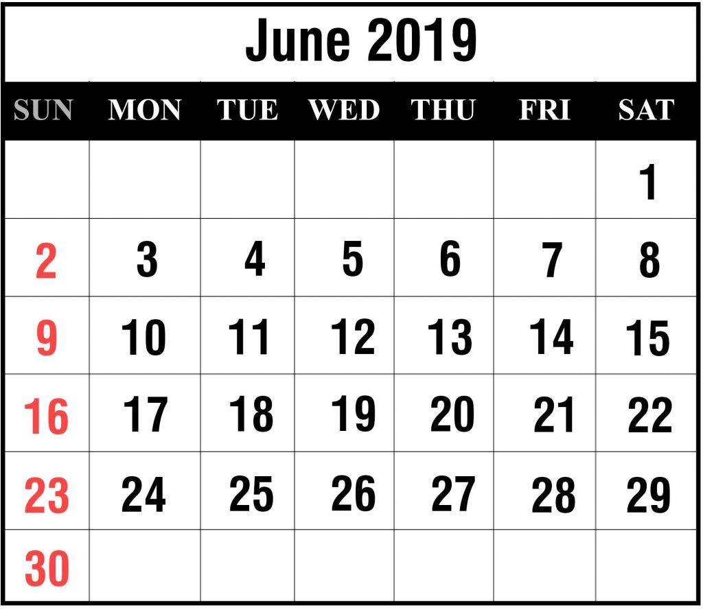 June 2019 Portrait Calendar Template