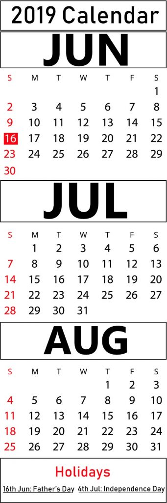 Download June July August 2019 Calendar