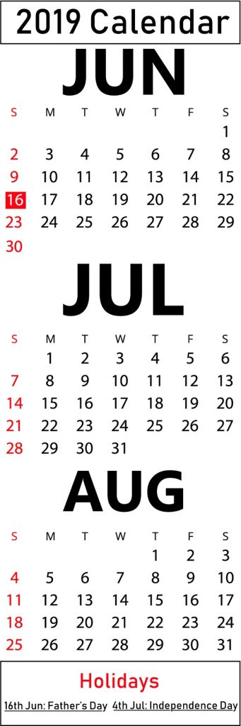 Free June July August 2019 Printable Calendar