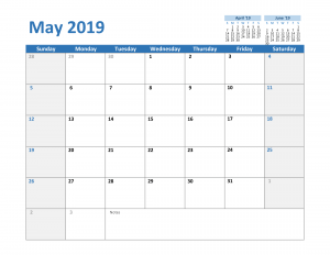 2019 May Excel Calendar Template