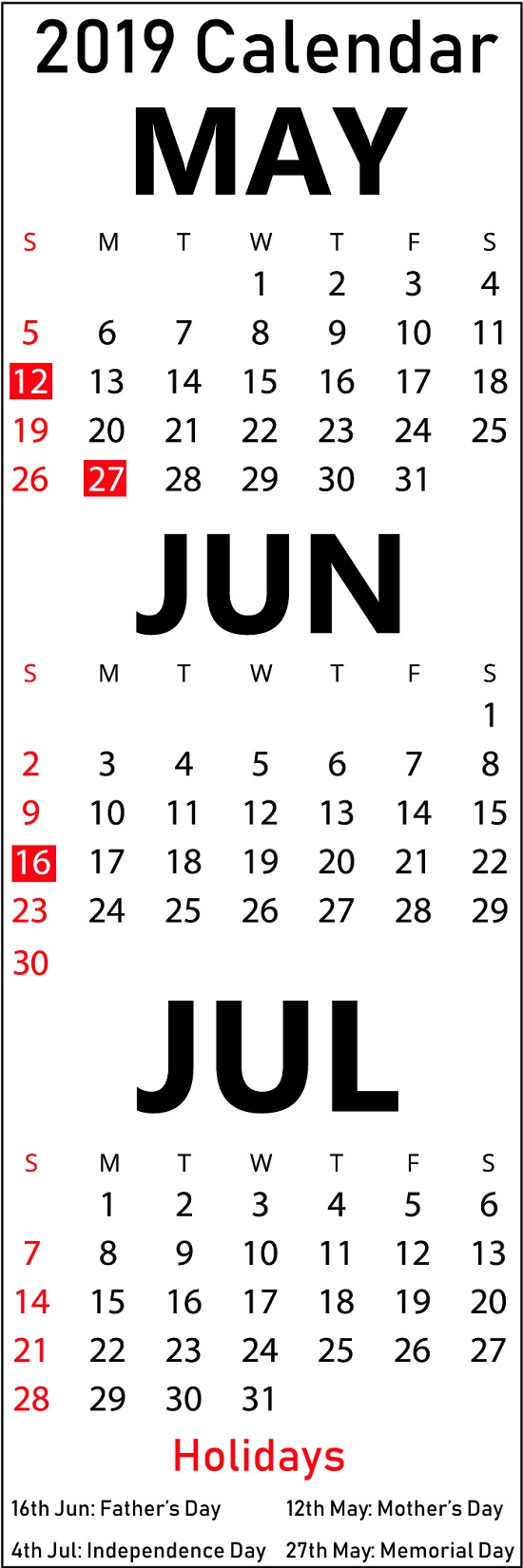 Free May June July 2019 Calendar