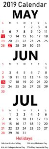 Free May June July Calendar