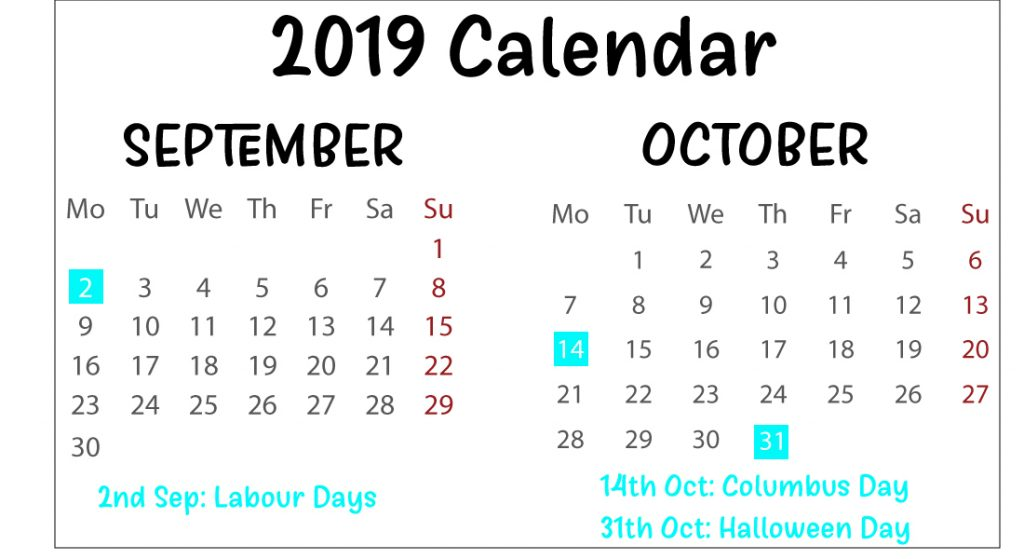 Free September and October 2019 Calendar