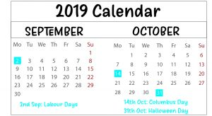 September and October 2019 Printable Calendar