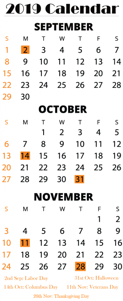 September October November 2019 Printable Calendar