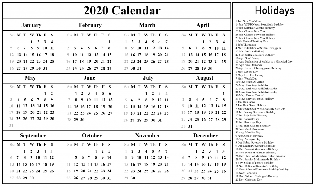 picture relating to Free Printable 2020 Calendar With Holidays identified as Absolutely free Printable Malaysia Calendar 2020 PDF, Excel Phrase