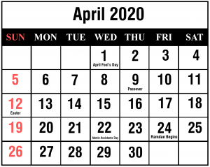 April 2020 Calendar Word Templates