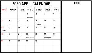 April 2020 Portrait Calendar Template
