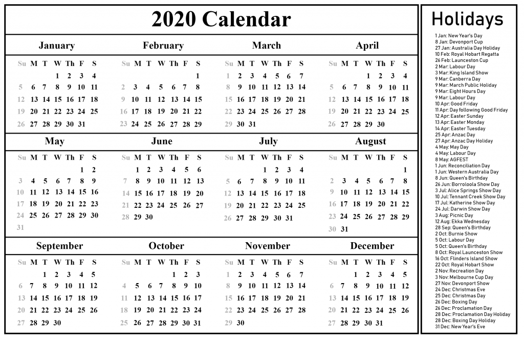 picture regarding Printable Calendar 2020 identified as Printable Absolutely free Blank Australia 2020 Calendar [PDF, Excel