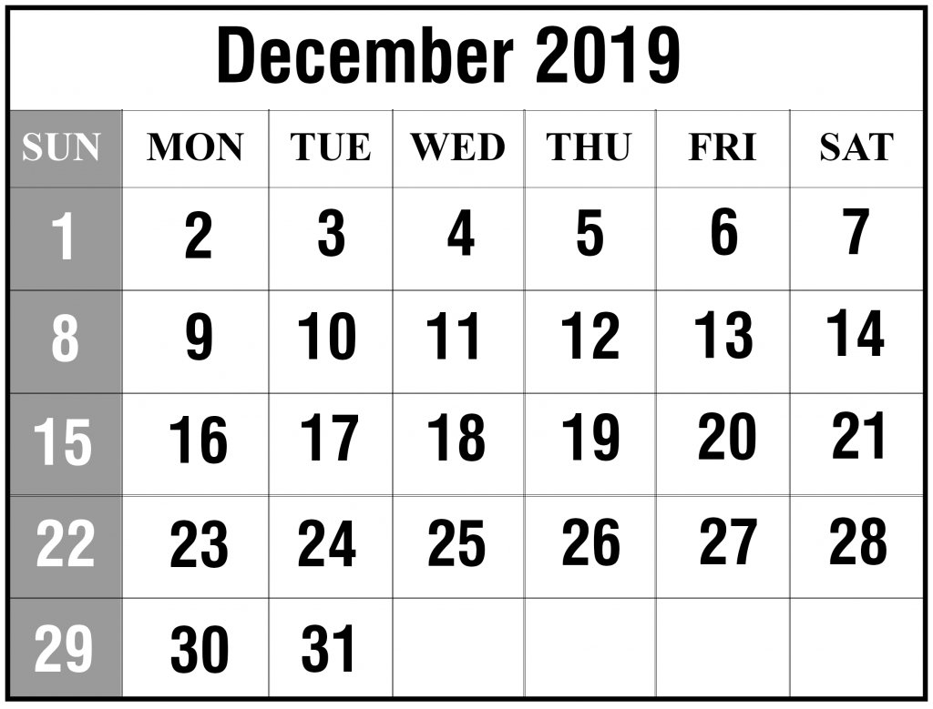 photograph about Printable Calendar December Pdf named Free of charge December 2019 Printable Calendar Template Within just PDF, Excel