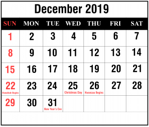 Free December 2019 Calendar With Holidays