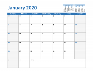 2020 January Excel Calendar Template
