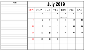 Free July2019 Calendar With Holidays
