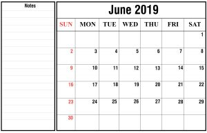 Free June 2019 Calendar With Holidays