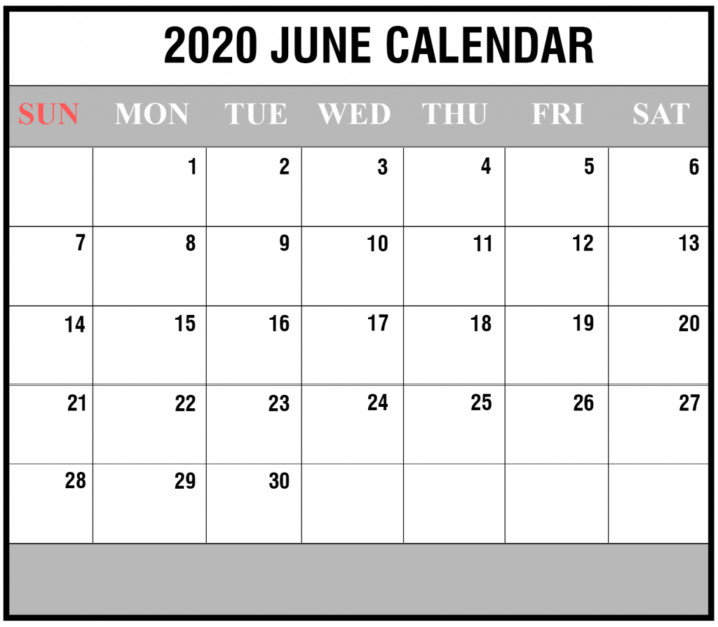 June 2020 Calendar Word Templates