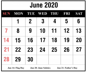 2020 June Excel Calendar Template
