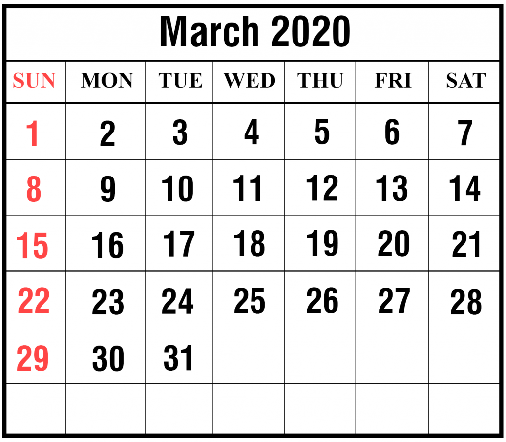 March 2020 Calendar Word Templates