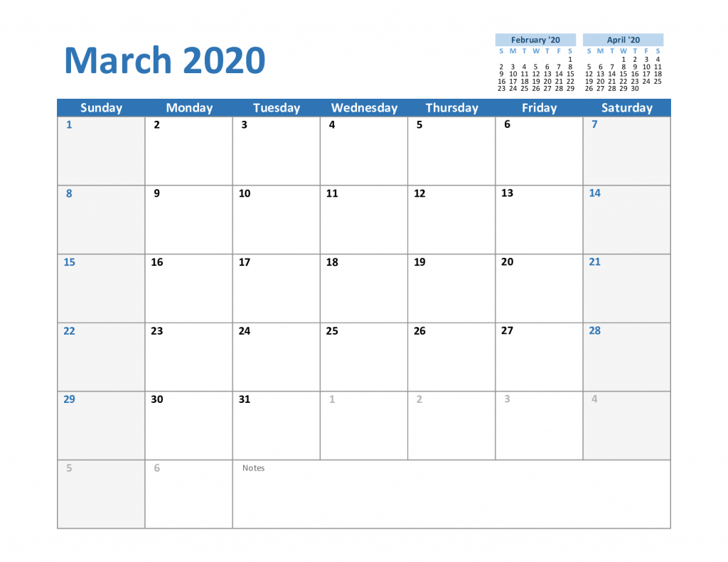 2020 March Excel Calendar Template