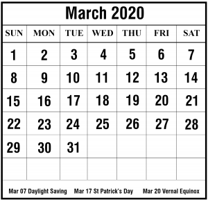 2019 March Excel Calendar Template