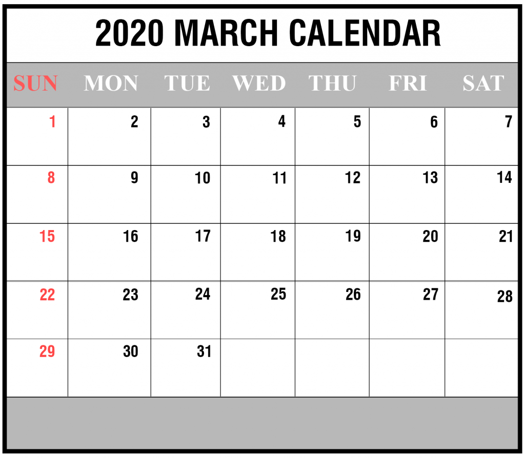 March 2020 Portrait Calendar Template