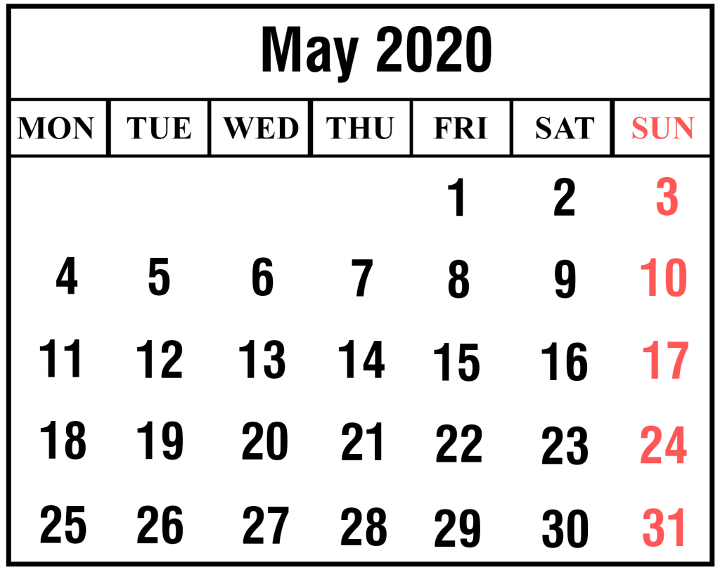 May Printable Calendar 2020.Free May 2020 Printable Calendar Template In Pdf Excel Word Best