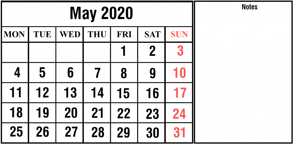 May 2020 Calendar Word Templates