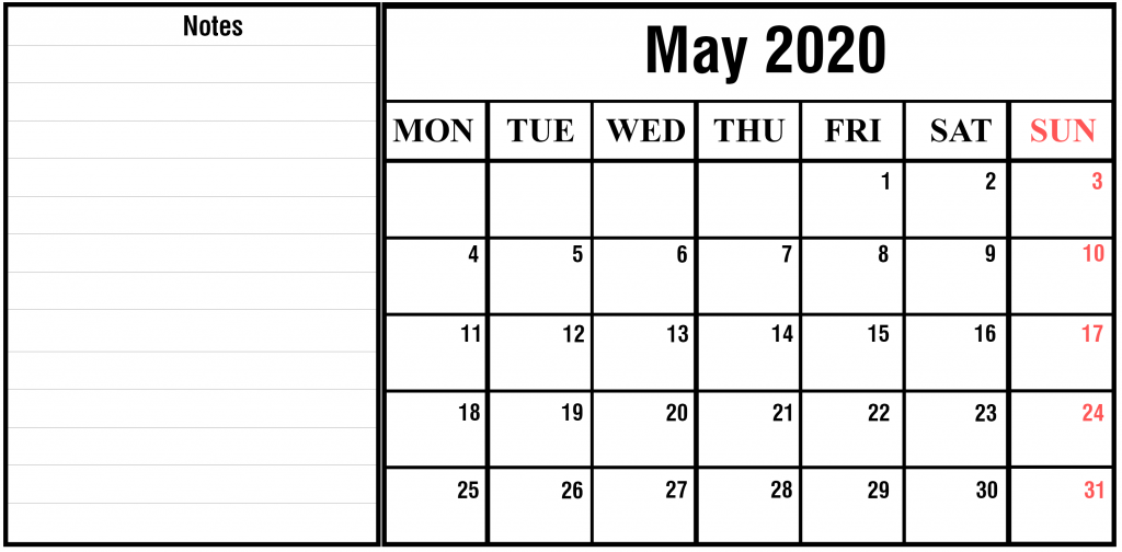 Free May 2020 Printable Calendar Template In PDF, Excel
