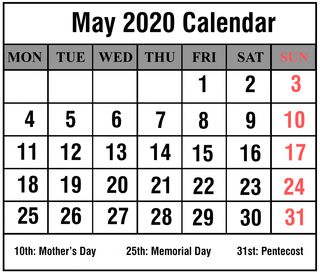 May 2020 Portrait Calendar Template
