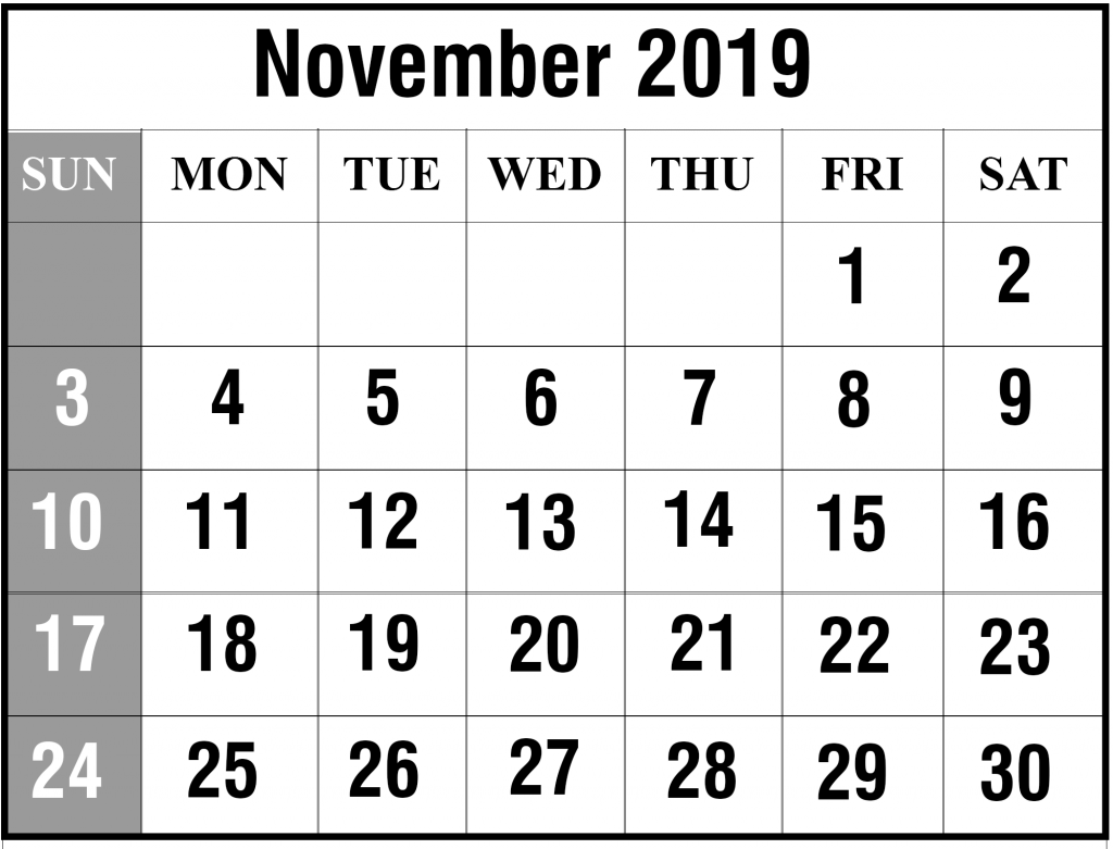 graphic relating to Nov Calendar Printable Pdf called Totally free November 2019 Printable Calendar Template In just PDF, Excel