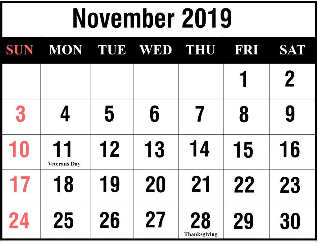Free November 2019 Calendar With Holidays
