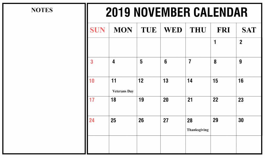November 2019 Portrait Calendar Template