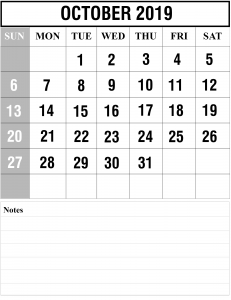 Free October A42019 Calendar With Holidays