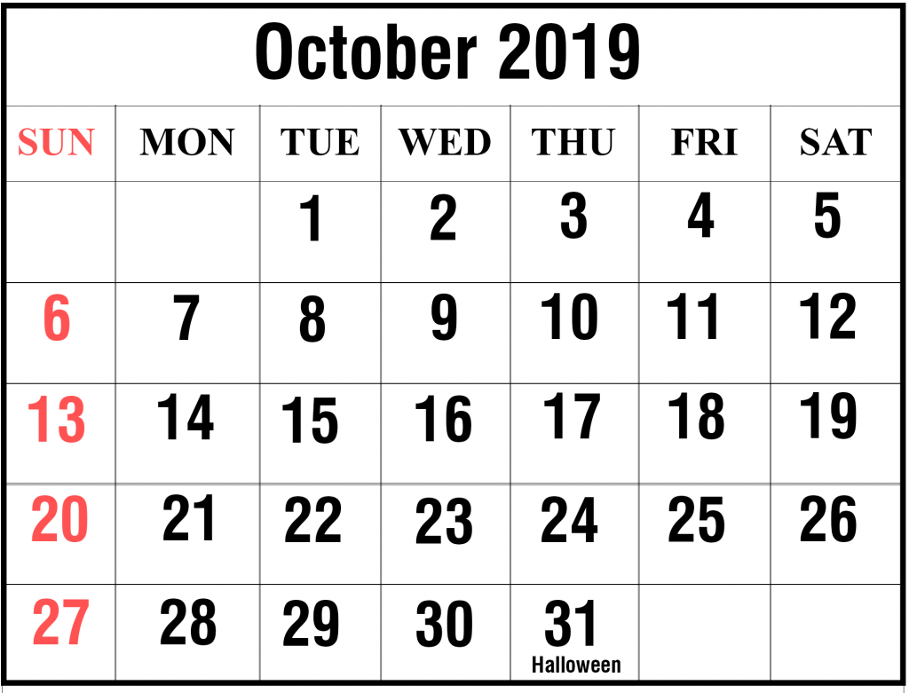 October 2019 Calendar Word Templates