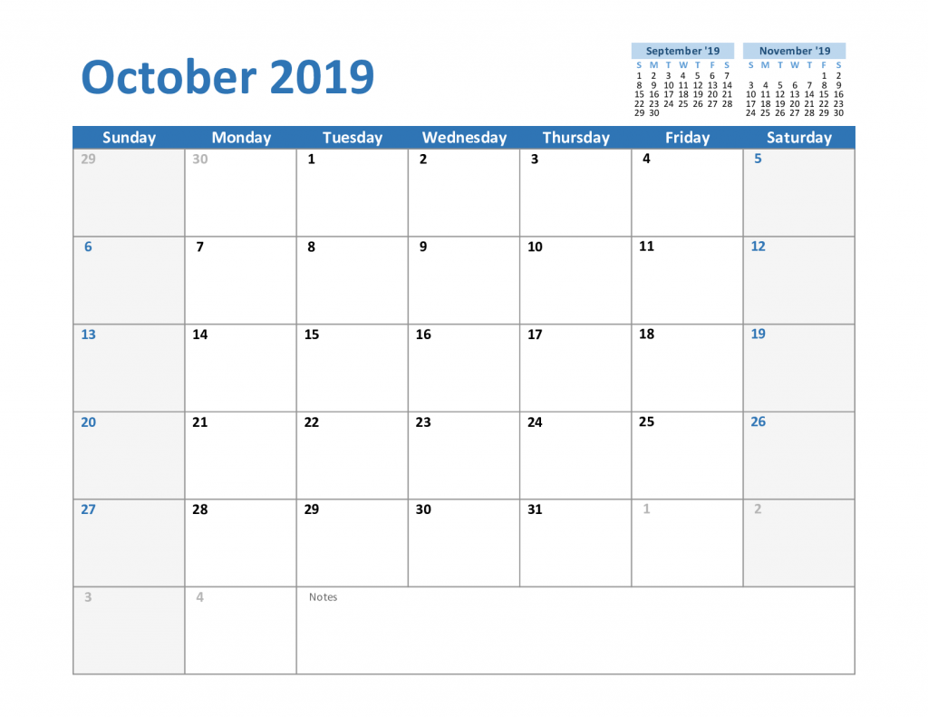 2019 October Excel Calendar Template