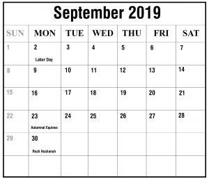 2019 September Excel Calendar Template