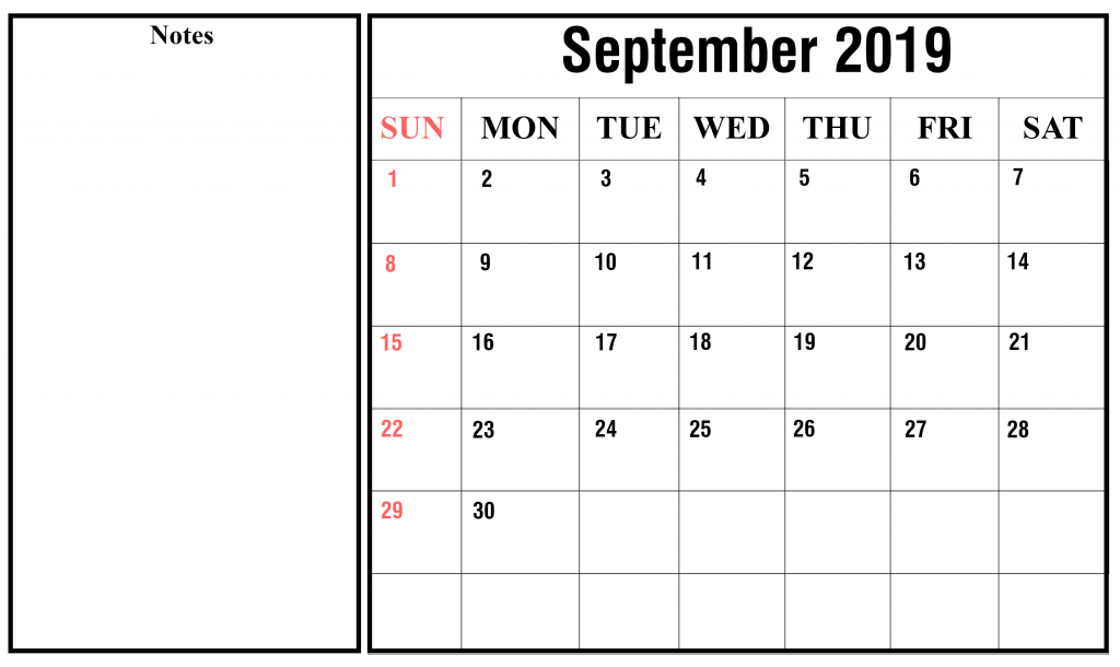 Free September 2019 Calendar With Holiday