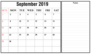 September 2019 Portrait Calendar Template